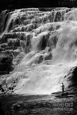 Ithaca Falls Fisherman Art Print by Michele Steffey