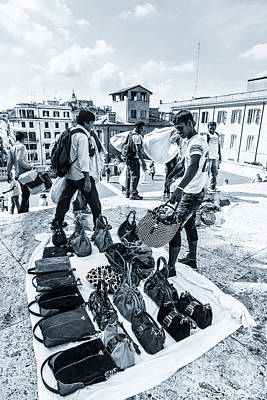 Itinerant Street Sellers Selling Fake Designer Goods Laid Out On Art Print