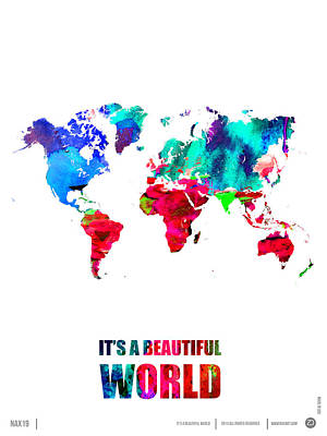 Comical Digital Art - It's A Beautifull World Poster by Naxart Studio