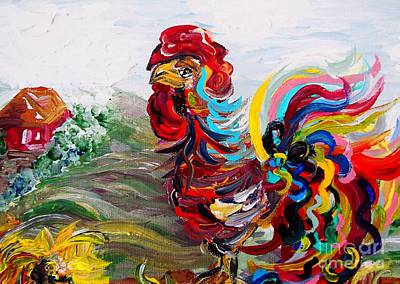 Bright Colors Painting - It's A Cockadoodle Do Morning by Eloise Schneider