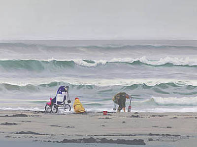 Razor Clams Wall Art - Painting - It's A Family Thing by Carol Thompson