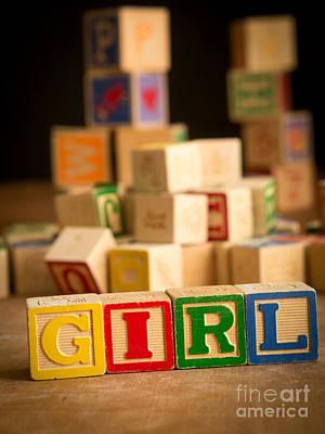 Block Party Photograph - Its A Girl - Alphabet Blocks by Edward Fielding