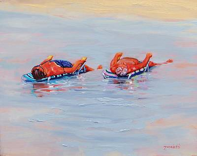 Reflections In Water Painting - Its A Hot One by Laura Lee Zanghetti