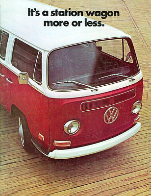 Vw Camper Van Digital Art - It's A Station Wagon More Or Less - Vw Camper Ad by Georgia Fowler