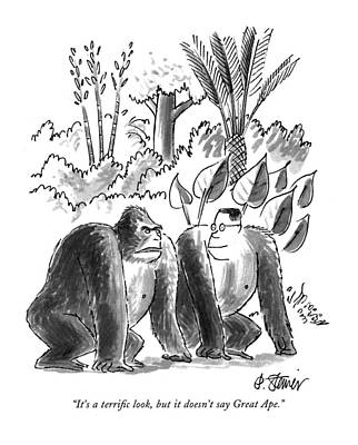 Gorilla Drawing - It's A Terrific Look by Peter Steine