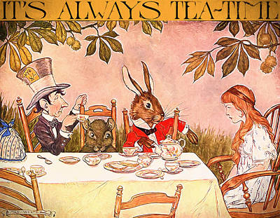March Hare Mixed Media - It's Always Tea-time by John K Woodruff