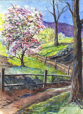 Split Rail Fence Drawing - Appleblossom Time by Carol Wisniewski