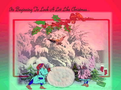 Friendly Digital Art - Its Beginning To Look A Lot Like Christmas by Joyce Dickens