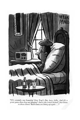 New Years Eve Drawing - It's Certainly One Beautiful New Year's Day Here by Peter Arno