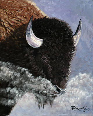 Longhorn Cattle Painting - It's Cold by Timithy L Gordon
