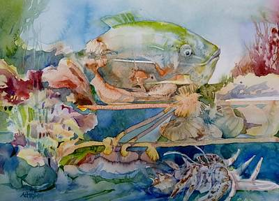 Painting - It's Crowded In The Aquarium by Donna Acheson-Juillet