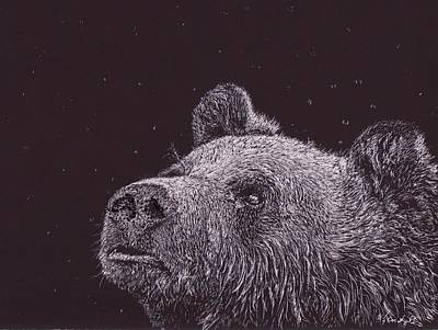 Grizzly Bears Drawing - Its Den Time by Wendy Brunell