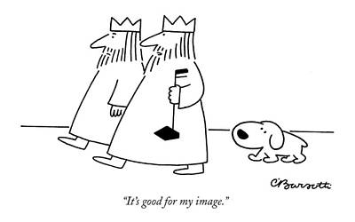 Dog Walking Drawing - It's Good For My Image by Charles Barsotti