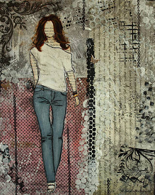 Folk Art Mixed Media - It's Her Beauty Abstract Mixed Media Collage  by Janelle Nichol