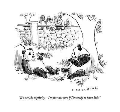 Zoo Drawing - It's Not The Captivity - I'm Just Not Sure If I'm by Trevor Spaulding