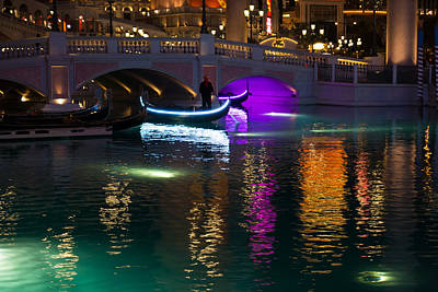 Viva Las Vegas Photograph - It's Not Venice - Brilliant Lights Glamorous Gondolas And The Magic Of Las Vegas At Night by Georgia Mizuleva
