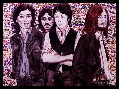 Fab Four Painting - It's Only A Northern Song Bordered by Joan-Violet Stretch