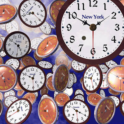 Digital Art - It's Raining Clocks - New York by Nicola Nobile