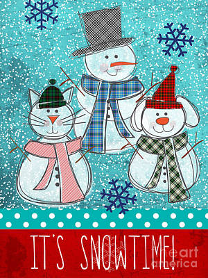 Christmas Card Painting - It's Snowtime by Linda Woods