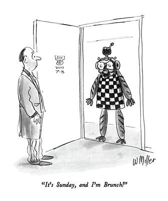 Checkered Drawing - It's Sunday by Warren Miller