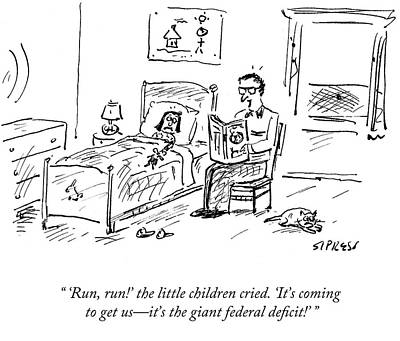 Scary Drawing - It's The Giant Federal Deficit by David Sipress