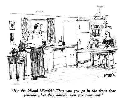 It's The Miami 'herald.'  They Saw You Go Art Print by Robert Weber