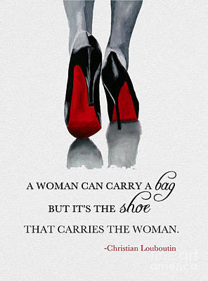 Red Art Mixed Media - It's The Shoe That Carries The Woman by Rebecca Jenkins