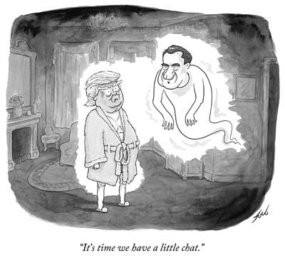 Cartoons Drawing - It's Time We Have A Little Chat by Tom Toro