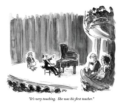 Concerts Drawing - It's Very Touching.  She Was His First Teacher by James Stevenson