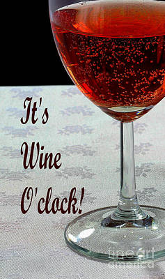 It's Wine O'clock - Wine - Humor - Dining Print by Barbara Griffin