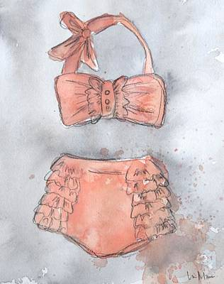 Ruffles Painting - Itty Bitty Teeny Weeny Pink And Ruffled Bikini by Lauren Maurer