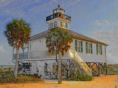 Historic Lighthouse Painting - Boca Grande Lighthouse 1890 by David Lee Thompson