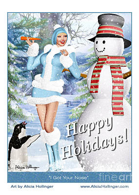 Penguin Mixed Media - I've Got Your Nose - Happy Holiday Card by Alicia Hollinger