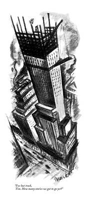 Skyscrapers Drawing - I've Lost Track by Jack Markow