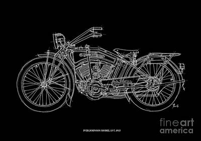 Bike Drawing - Iver Johnson 1915 by Pablo Franchi