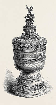 Thomas Becket Drawing - Ivory Grace Cup Of Thomas Abecket Set In Gold by English School