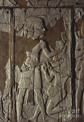 Ivory Carving Photograph - Ivory Panel From Ugarit Excavation by Gianni Tortoli