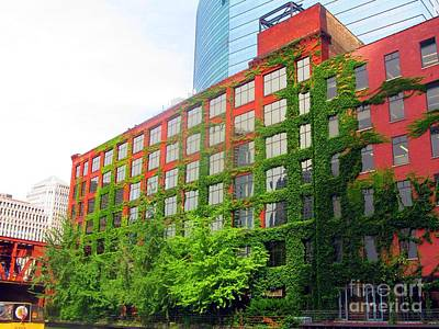 Ivy-covered Building On The Chicago River Art Print by Matthew Peek