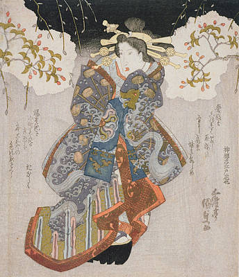 Theater Drawing - Iwai Kumesaburo II As A Courtesan by Utagawa Kunisada