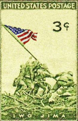 Stars And Stripes Mixed Media - Iwo Jima - 1 by Charlie Ross