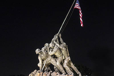 Photograph - Iwo Jima Memorial Dc With Flag by John McGraw