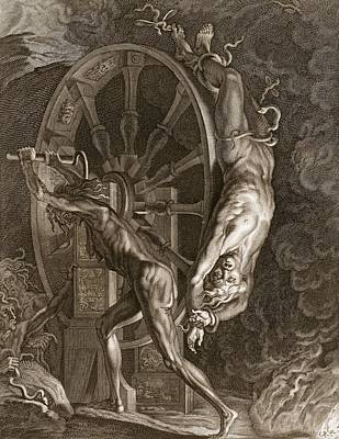 Spin Drawing - Ixion In Tartarus On The Wheel, 1731 by Bernard Picart