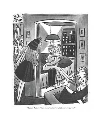 Ixnay, Edith. I Just Found Out We're At The Wrong Art Print by Peter Arno