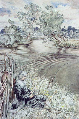 Rod Drawing - Izaak Walton Reclining Against A Fence by Arthur Rackham
