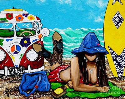 J. C. Beaching It In 1961 Art Print by Jackie Carpenter