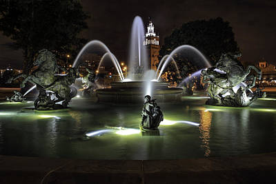 J C Nichols Fountain Art Print by Lynn Sprowl