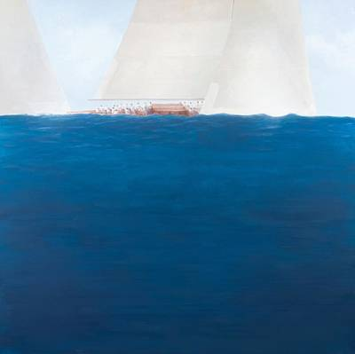 Sailboat Ocean Painting - J Class Racing The Solent 2012  by Lincoln Seligman