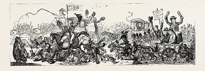 Voted Images Drawing - J. Gillray Posting To The Election, A Scene On The Road by English School