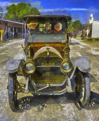 J L Case Automobile - Painting Art Print by F Leblanc