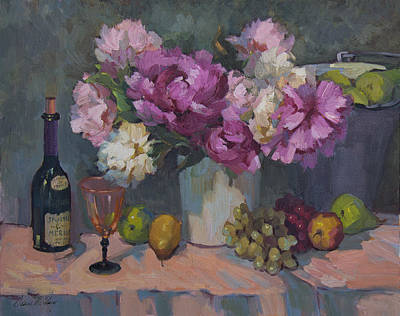 J. P. Chenet And Peonies Art Print by Diane McClary